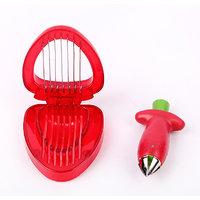 Combo Set Of Strawberry Slicer & Huller Stainless Steel Cutter - 93933797