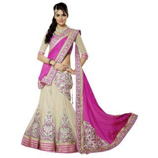 7fecd7c325 Janasya Multicolour Wedding Wear Lehenga Saree With Un Stitched Blouse  (Availablein