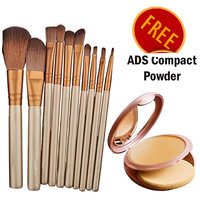 Imported Make-up Brush- Set Of 5 With Free Compact Powder