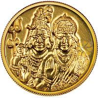 140mg Shiv Parvati Gold Coin By Parshwa Padmavati Gold