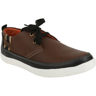 Freedom Daisy Stylish  Trendy Pair Of Men Sneakers/Casual Lace-Up Shoes-F.D-1083-BROWN6Brown6