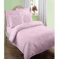 swaas Tria Pink - Double Bed Sheet Set with Two Pillow Covers