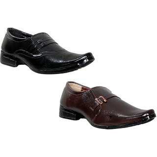 Sparrow Combo Mens Black And Brown Formal Slip On Shoes