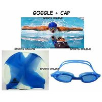 IMPORTED SWIMMING CAP + GOGGLES +EAR PLUG FREE BEST QUALITY (BLUE COLOR)