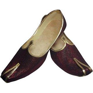 Skylyf Maroon Synthetic Ethnic Mojari Mozari Jutti Juti Jooti Footwear