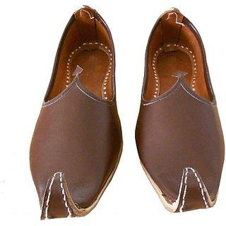 Skylyf Brown Punjabi Leather Ethnic Mojari Mozari Jutti Juti Jooti Footwear