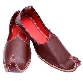 Skylyf Maroon Punjabi Leather Ethnic Mojari Mozari Jutti Juti Jooti Footwear