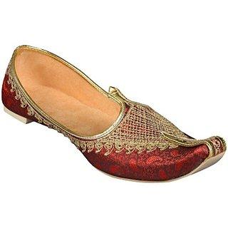 Skylyf Fabric Maroon Ethnic Mojari Mozari Jutti Juti Jooti Footwear