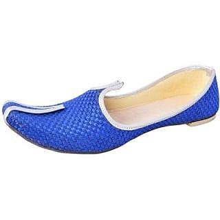 Skylyf Blue Jute Casual Ethnic Mojari Mozari Jutti Juti Jooti Footwear