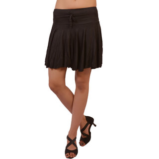 Women Lycra Viscose Black Color Short Skirt