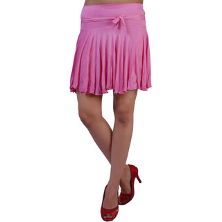Women Lycra Viscose Pink Color Short Skirt