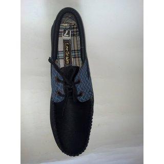 LEE GRAIM Mens Casual Black Lace Up Shoes