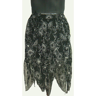 Anuze Fashions New Style, Colour Black With Flower Printed Skirts Hot & Sexy