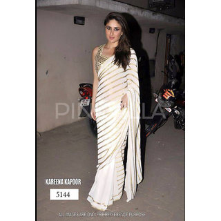 87f58601c42 Buy Indian Gaatha Kareena White striped Bollywood Saree Online   ₹4550 from  ShopClues