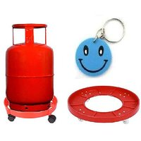 Lpg Kitchen Gas Cylinder Trolley With Wheels With Free Smiley Key Chain.