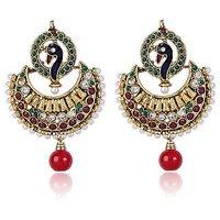 Shining Diva Peacock Designed  Golden, Maroon & Green Beaded Earrings