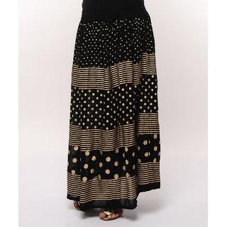 Gold Print Long Skirt