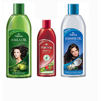 Combo Pack Of PUKHRAJ Amla (200 Ml), Thanda(100 Ml) And Jasmine(200 Ml) Hair Oils