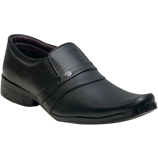 Oora Black Cobra Slip On Formal Shoes For Men