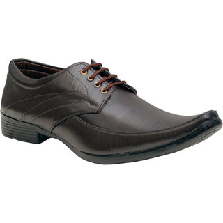 Oora Brown With Fine Lining Design Lace Up Formal Shoes For Men