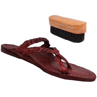 Sushito Lakhanavi Navab Brown Leather Footwear For Men With Shoe Brush JSMKCM0269