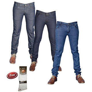 Coaster Men's Stylish Denim-Pack Of 3 With 1 Pair Of Assorted Socks Free