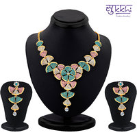 Sukkhi Enchanting Gold Plated Australian Diamond Necklace Set