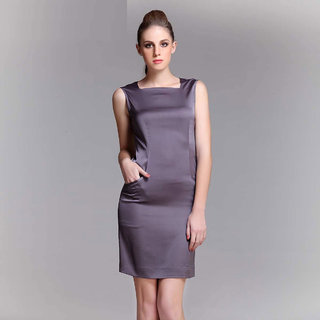 Satin Dress With V Shaped Back Neckline