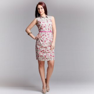 Floral Cotton Dress With Pleat