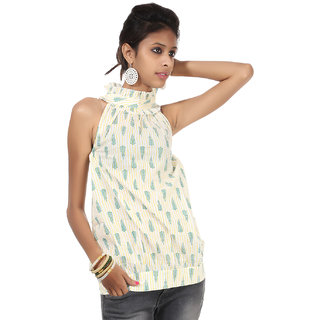 Rajrang Statuesque Cotton Handmade Block Printed Halter Neck Top