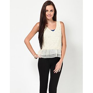 Kaxiaa V Neck Sequins Cream Colored Top