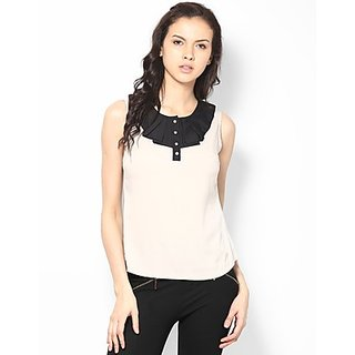 Kaxiaa Polyester Crepe Rouffle Collar Neck Beige Colored Top