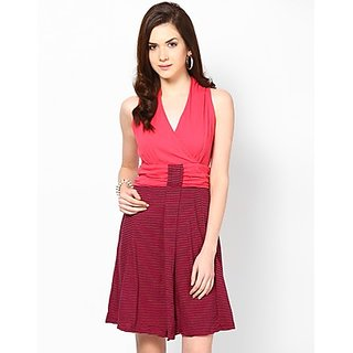 Kaxiaa Cotton V Neck Pink Colored Dress