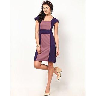 Kaxiaa Cotton Square Neck Purple Colored Dress