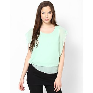 Kaxiaa Polyester Round Neck Sea Foam Colored Top