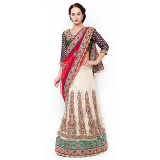 Buy Aagaman Fashion Enthralling Multi Colored Embroidered Net