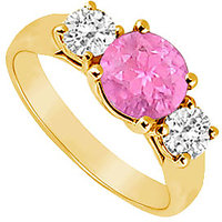 Lovely Three Stone Pink Sapphire And Diamond Ring In 14K Yellow Gold