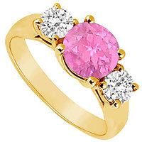 Wonderful Three Stone Pink Sapphire And Diamond Ring In 14K Yellow Gold