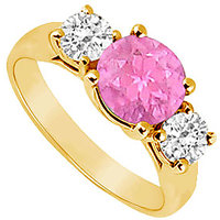 Enticing Three Stone Pink Sapphire And Diamond Ring In 14K Yellow Gold