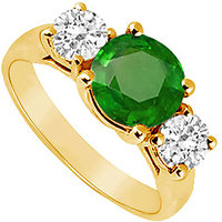 Ideal Three Stone Emerald And Diamond Ring In 14K Yellow Gold