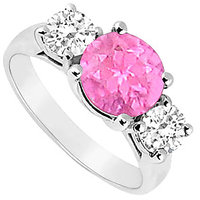 Statuesque Three Stone Pink Sapphire And Diamond Ring In 14K White Gold