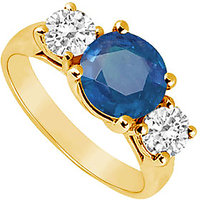 Fascinating Three Stone Sapphire And Diamond Ring In 14K Yellow Gold