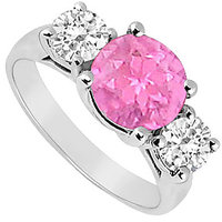 Symmetrical Three Stone Pink Sapphire And Diamond Ring In 14K White Gold