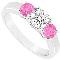 Refined Three Stone Pink Sapphire And Diamond Ring In 14K White Gold