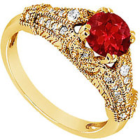 Lovebrightjewelry 14K Yellow Gold Ruby & Diamond Engagement Ring-0.75 Ct