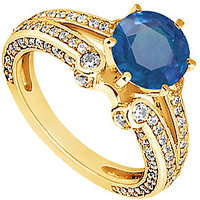 Lovebrightjewelry 14K Yellow Gold Sapphire & Diamond Engagement Ring-1.75 Ct