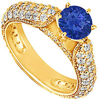 Lovebrightjewelry 14K Yellow Gold Sapphire & Diamond Engagement Ring-1.50 Ct
