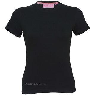 Women Black Round Neck Tshirt