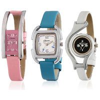 Oleva Ladies Leather Watch Set of 3 Combo Ovd 162