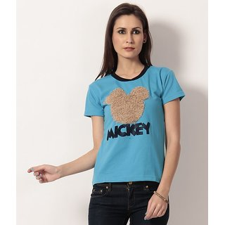 NU9 Blue Mickey Printed Cotton T-Shirt